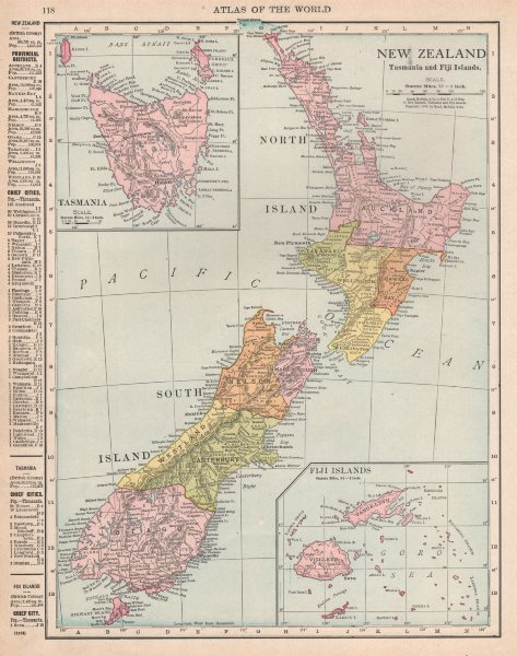 Details About New Zealand Tasmania And Fiji Islands Rand Mcnally 1912 Old Antique Map