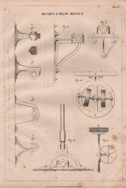 Associate Product VICTORIAN ENGINEERING DRAWING. Brackets & pillow blocks &c. (2) 1847 old print