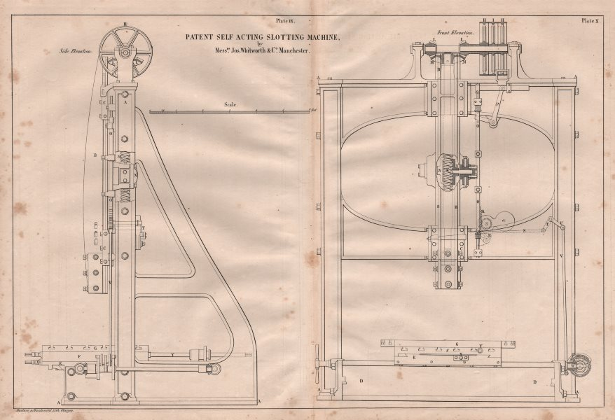 Associate Product 19C ENGINEERING DRAWING. Patent self acting slotting machine. Whitworth 1847