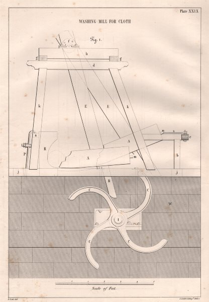 Associate Product VICTORIAN ENGINEERING DRAWING. Washing mill for cloth (1) 1847 old print