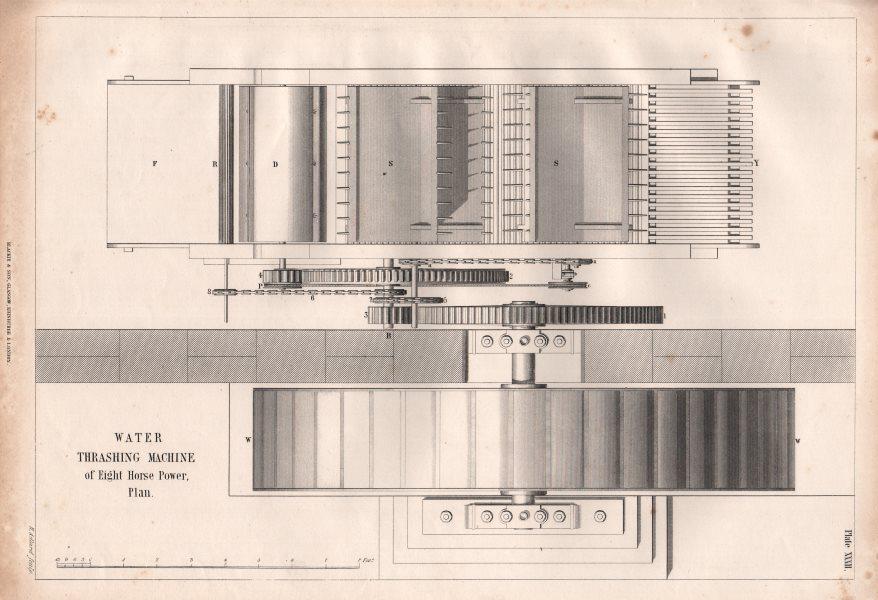Associate Product VICTORIAN ENGINEERING DRAWING. 8hp Water thrashing machine, plan 1847 print