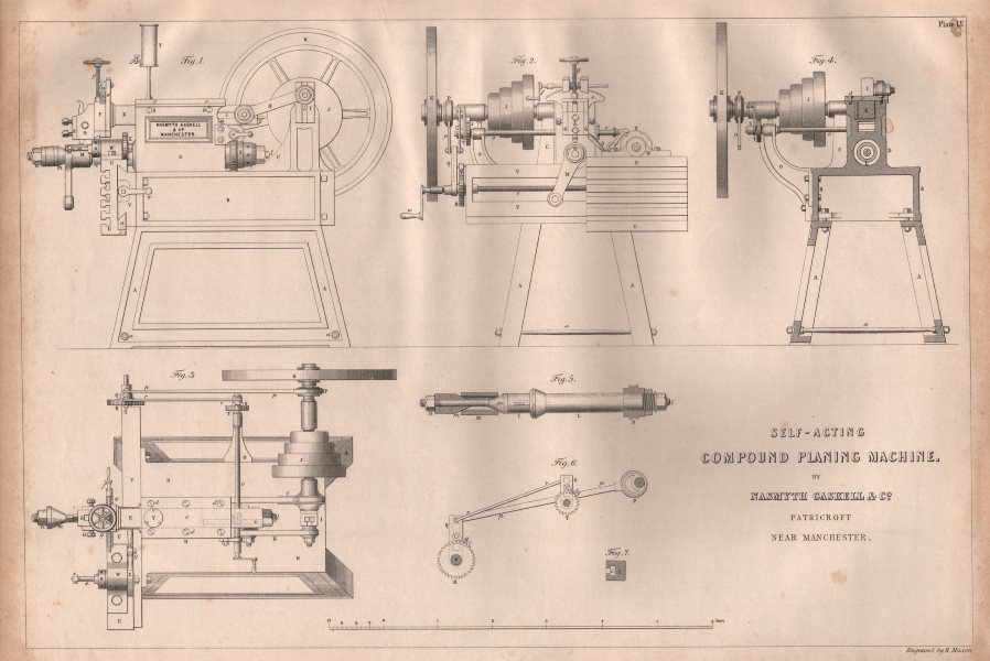 Associate Product 19C ENGINEERING DRAWING. Self-acting compound planing machine. Gaskell 1847