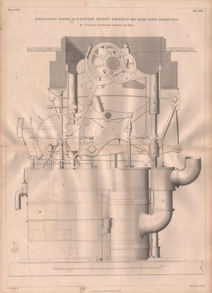 Associate Product 19C ENGINEERING DRAWING. Direct-action engines of HM Steam Frigate Dragon 1847