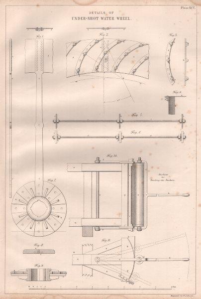 Associate Product VICTORIAN ENGINEERING DRAWING. Details of under-shot water wheel 1847 print