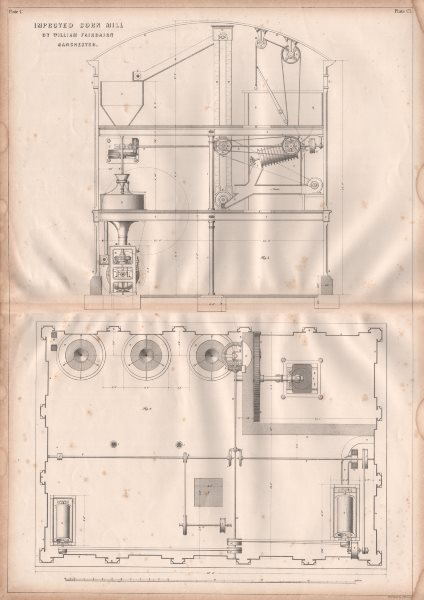 VICTORIAN ENGINEERING DRAWING. Improved corn mill by William Fairbairn (2) 1847
