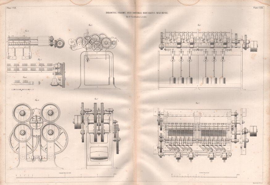 19C ENGINEERING DRAWING. Drawing frame & double breaking machine. Fairbairn 1847