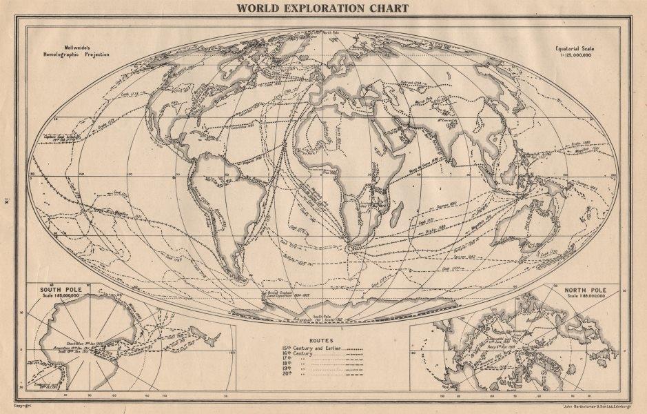 Associate Product WORLD EXPLORATION. Explorers routes dates centuries. BARTHOLOMEW 1944 old map