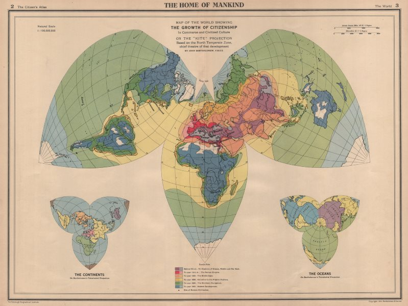Associate Product Spread of civilisation from antiquity to 1940. World on Kite Projection 1944 map