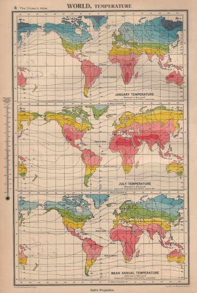 Associate Product WORLD TEMPERATURE. January July Mean annual. BARTHOLOMEW 1944 old vintage map