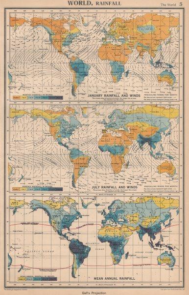 WORLD RAINFALL & WINDS. January July Mean annual. BARTHOLOMEW 1944 old map