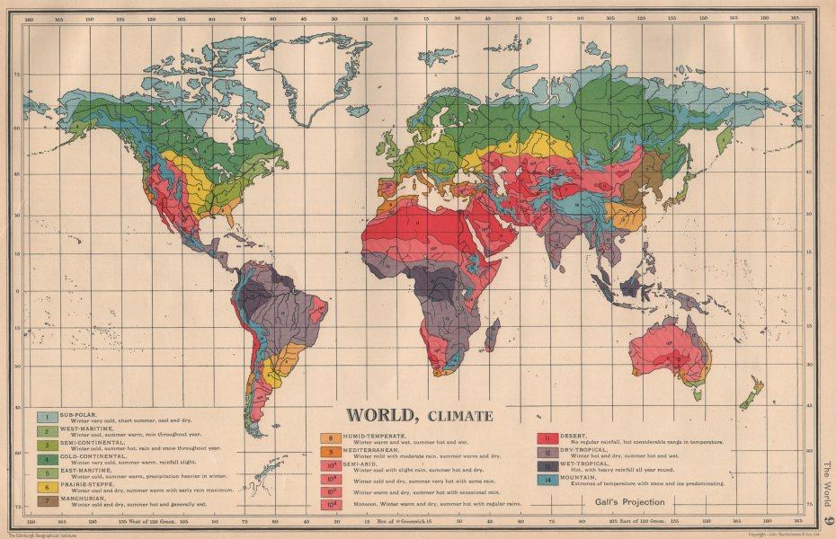 Associate Product WORLD CLIMATE. maritime continental desert tropical &c. BARTHOLOMEW 1944 map
