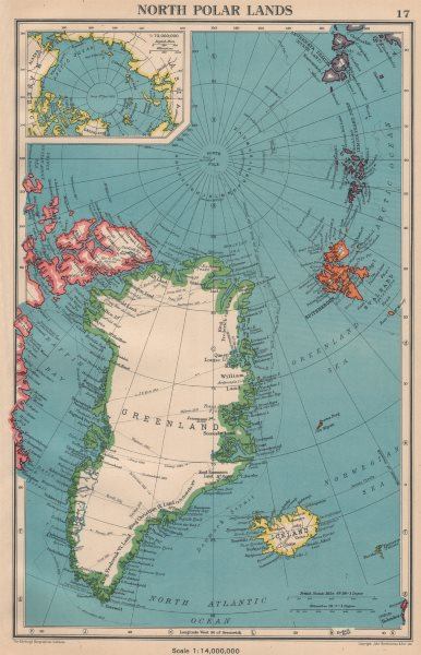 Associate Product ARCTIC. North Polar Lands. Greenland Iceland. Explorers routes 1944 old map