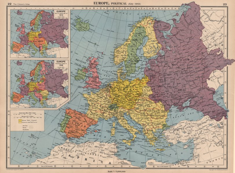 Map Of Europe With Scale.Europe In 1941 1914 38 Third Reich Vichy France Partitioned