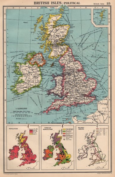 Associate Product BRITISH ISLES. Population density. Agriculture types. Electricity Grid 1944 map