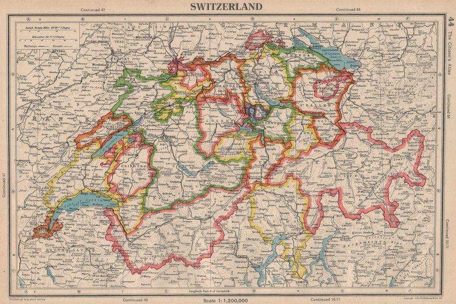 Associate Product SWITZERLAND. showing cantons & railways. BARTHOLOMEW 1944 old vintage map