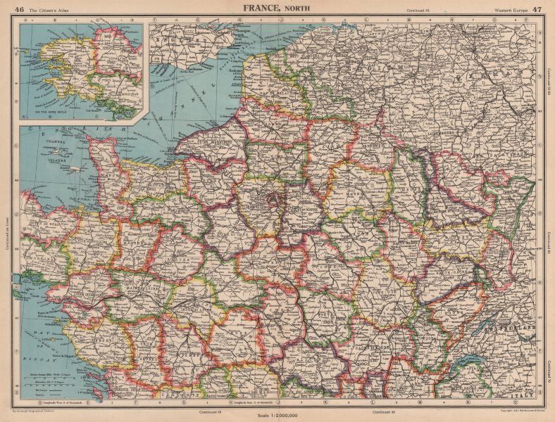 Associate Product FRANCE NORTH in departements. BARTHOLOMEW 1944 old vintage map plan chart