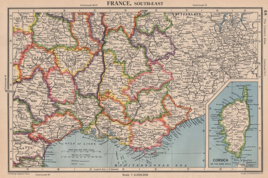Associate Product FRANCE SOUTH-EAST pre 1947-border changes. w/o Tende & Mt Cenis 1944 old map