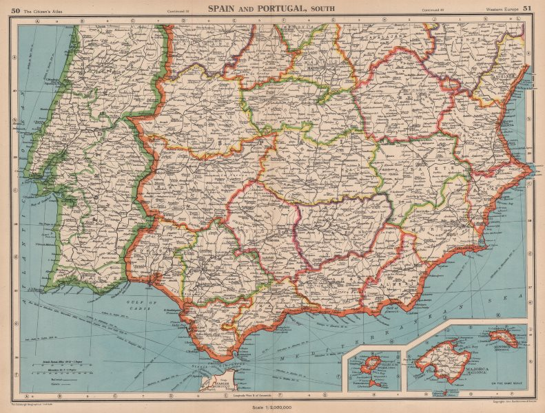 Map Of Southern Spain And Portugal.Iberia South Spain Portugal Andalusia Murcia Valencia