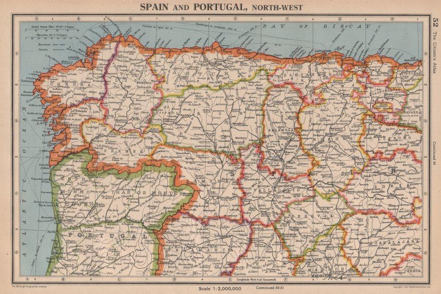 Associate Product IBERIA N WEST. Spain Portugal. Galicia Asturias Castilla/Leon Cantabria 1944 map