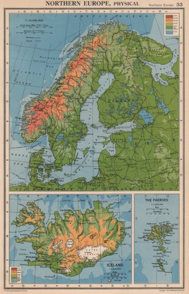 Associate Product SCANDINAVIA PHYSICAL. Norway Sweden Denmark Finland (<1940 borders) 1944 map