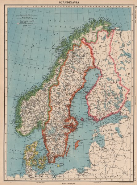Associate Product SCANDINAVIA. Sweden Norway Denmark Finland (shows < 1940 borders)  1944 map