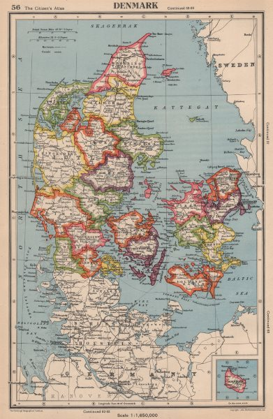 Associate Product DENMARK. showing counties/amter. BARTHOLOMEW 1944 old vintage map plan chart