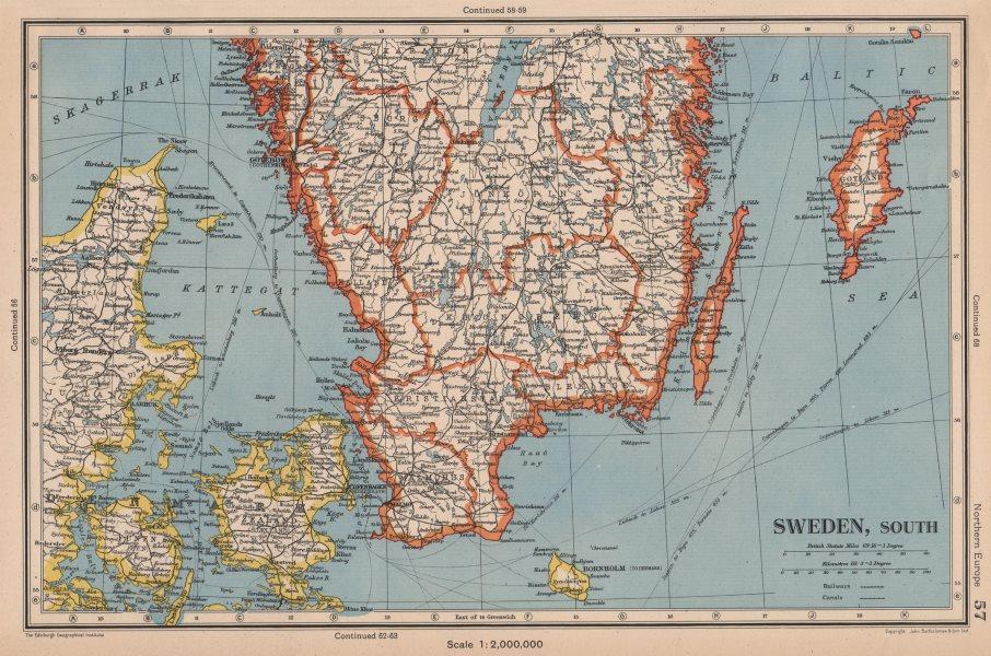 Associate Product SWEDEN SOUTH. + Denmark East. Railways. BARTHOLOMEW 1944 old vintage map chart