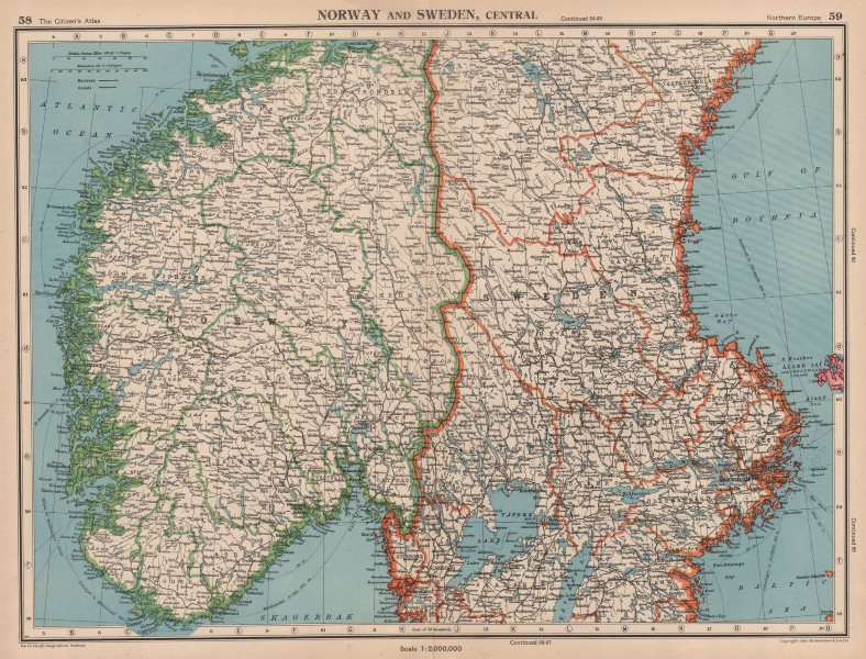 Associate Product SCANDINAVIA. Norway and Sweden, Central. Railways. BARTHOLOMEW 1944 old map