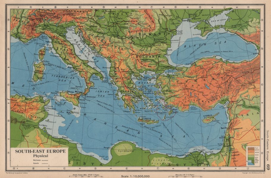Associate Product SE EUROPE. Enlarged Hungary. Italian Istria. BARTHOLOMEW 1944 old vintage map