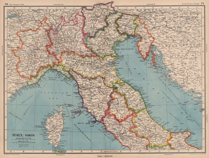 Associate Product ITALY NORTH. Includes Istria Tende Mt Cenis. Pre-1947 border changes 1944 map