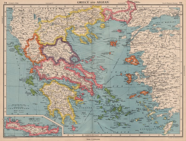 Associate Product GREECE AND AEGEAN. Crete Cyclades Sporades Dodecanese &c. BARTHOLOMEW 1944 map
