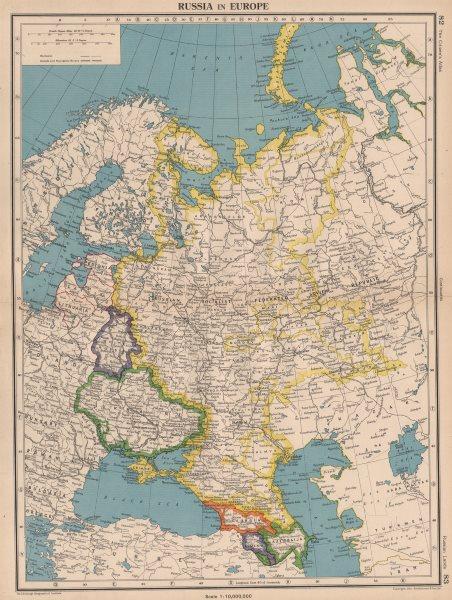 "Associate Product USSR. Russia includes Crimea. Belarus as ""White Russia"". Caucasus 1944 old map"