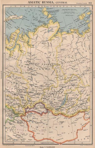 Associate Product CENTRAL ASIATIC RUSSIA Siberia. Independent Tuva/Tyva Republic.Mongolia 1944 map
