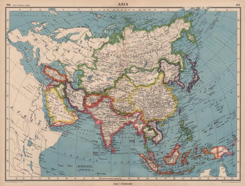 Associate Product ASIA POLITICAL. Shows Japanese occupied Manchuria, Caroline & Marianas 1944 map