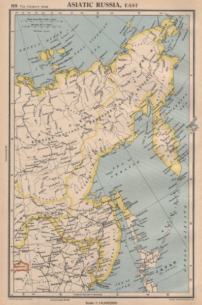 Associate Product ASIATIC RUSSIA, EAST. Siberia Yakutsk Sakhalin. BARTHOLOMEW 1944 old map