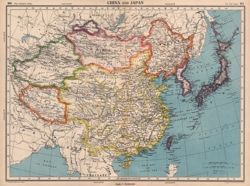 Associate Product EAST ASIA. Independent Tibet Xinjiang Tuva. Japanese occupied Manchuria 1944 map