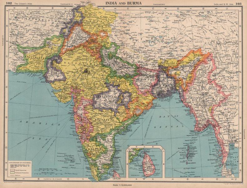 Associate Product BRITISH INDIA. South Asia. Burma. Portuguese enclaves. BARTHOLOMEW 1944 map