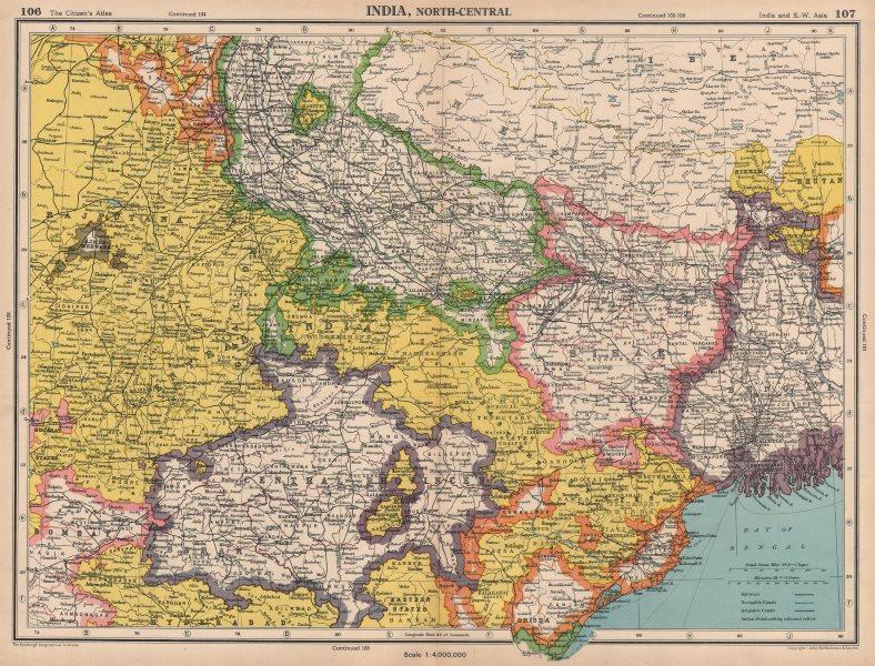 Associate Product INDIA NORTH-EAST. Nepal Bihar Bengal Central Provinces. BARTHOLOMEW 1944 map