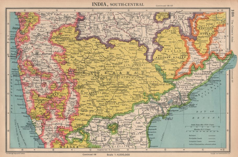 Associate Product INDIA CENTRAL. Shows Goa & Daman as Portuguese. BARTHOLOMEW 1944 old map