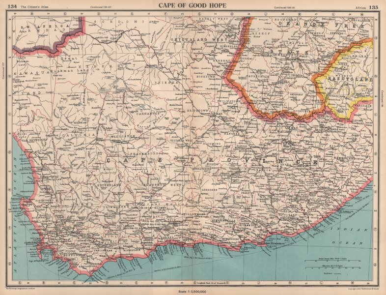 CAPE OF GOOD HOPE. Cape Province. South Africa. BARTHOLOMEW 1944 old map