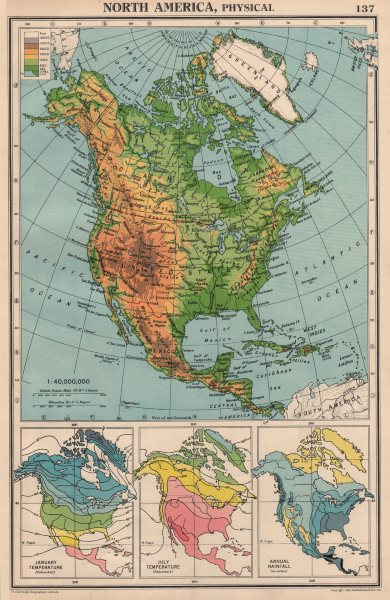 Associate Product NORTH AMERICA PHYSICAL & CLIMATE. Temperature. Rainfall. BARTHOLOMEW 1944 map