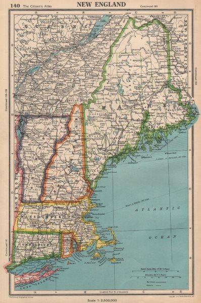Associate Product NEW ENGLAND. Connecticut Massachusetts Vermont NH Maine RI. BARTHOLOMEW 1944 map