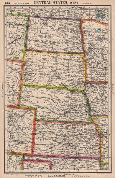Associate Product USA PLAINS STATES. North & South Dakota Nebraska Kansas. BARTHOLOMEW 1944 map