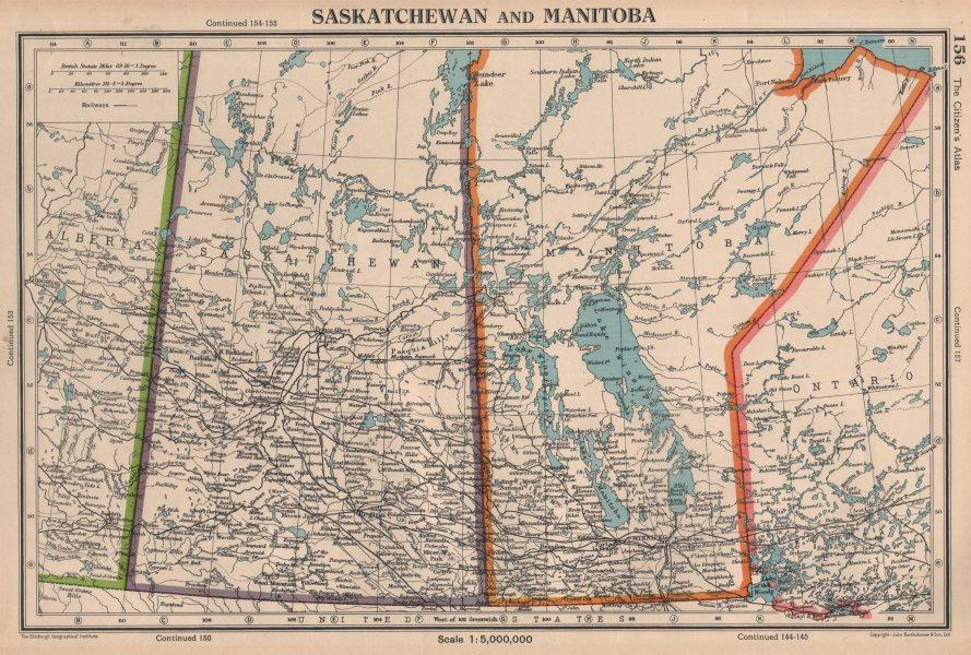 Associate Product SASKATCHEWAN & MANITOBA. provinces. Canada. Railways. BARTHOLOMEW 1944 old map