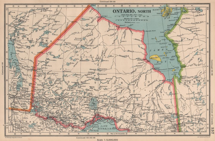 Associate Product ONTARIO NORTH. Railways. James Bay. Canada. BARTHOLOMEW 1944 old vintage map