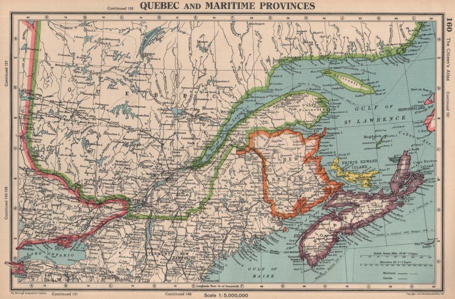 Associate Product QUEBEC & MARITIME PROVINCES. NS Prince Edward Island NB. BARTHOLOMEW 1944 map