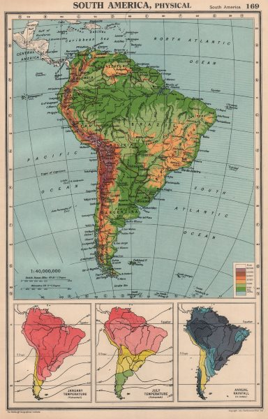 Associate Product SOUTH AMERICA. Physical Temperature & Rainfall. BARTHOLOMEW 1944 old map