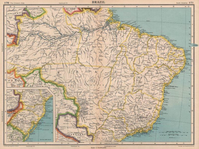 Associate Product BRAZIL. also Paraguay. BARTHOLOMEW 1944 old vintage map plan chart