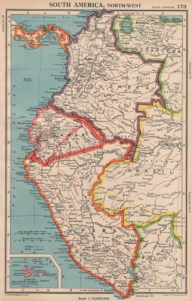Associate Product ANDEAN STATES w/ Ecuadorian–Peruvian War (Guerra del 41) border changes 1944 map