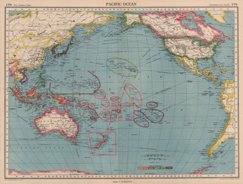 Associate Product PACIFIC OCEAN showing Japanese occupied Micronesia. Palau Marianas &c 1944 map